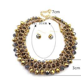 Wholesale Drop Gem Bib - 2015 Beautiful band Fashion Bib Choker Necklace Fluorescence Yellow Colors Crystal Gem Flower Drop For Women Statement Necklace