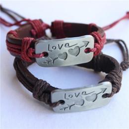 Wholesale Leather Bracelets For Cheap - FG 2Pcs lot Charm Double Heart Love Leather Bracelet Handmade Fashion Cheap Couple Jewelry For Men and Women