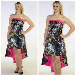 Wholesale Cheap High Low Dresses Online - Strapless High Low A-Line Wedding Dresses Cheap Sale Lace Up Back Camouflage Vintage Formal Bridal Gowns Custom Online Vestidos 2016