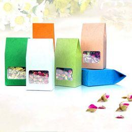 Fenêtres de boîte de papier en Ligne-8x15.5x5cm 50pcs Reclose Stand Sacs Kraft Colorés avec Fenêtre Claire Couleur Kraft Papier Emballage Cadeaux De Thé Bonbons Boîte De Mariage