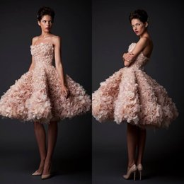 Wholesale Champange Gold - Krikor Jabotian 2017 Champange Ball Gown Knee Length Ruffle Organza Short Prom Dresses Party Gown Celebrity Homecoming Dresses