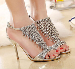 Wholesale Crystal Rhinestone High Sandals - Crystal Shoes Lace High Heels Women Bride Wedding Shoes Thin Heel Rhinestone Platform Butterfly Cinderella T-Strap Sandals Crystal Shoes