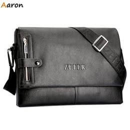 Wholesale Men Leather Horizontal Shoulder Bag - Wholesale-Aaron - New Arrival Mens Leather Messenger Bags With Vertical Zipper Front & Back,Business Horizontal Male Shoulder Bag For