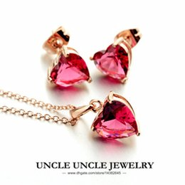 Wholesale rose gold pendant light - Sweet!!! Rose Gold Color Light Red Zirconia Setting Heart-shape Style Simple Lady Pendant Jewelry Set Necklace Earring