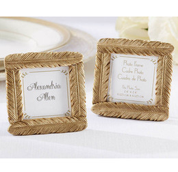 Wholesale Gold Wedding Place Card Holders - Event & Party Supplies Wedding Favors of Gold Feather Photo Frame Place Card Holder 50pcs Wholesale birthday favors