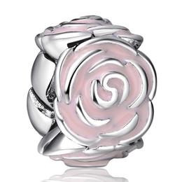 Wholesale Elegant Bracelet Sterling Silver - Elegant Round Pink Rose Enamel Beads European Charms Fit For 925 Sterling Silver Snake Chain Bracelet Fashion DIY Jewelry