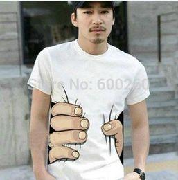 Wholesale O Necked Tshirts For Men - Wholesale-Summer Hot Sale Cool Fashion Men's Clothing O-neck Short Sleeve Men Shirts 3D Big Hand T Shirt men Tshirts Tops Tees For Man