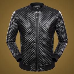 Wholesale Long Faux - Hot Top man Fashion Desinger Faux Leather Punk jacket Rhinestone P9065-9082 Coats PU Leather Slim fit Sporty Style Men Casual Jacket M-3XL