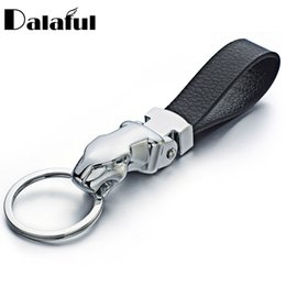 Wholesale Leather Keychains For Men - Metal Leopard Head Leather Key Chains Rings Holder For Car Keyrings KeyChains For Man Women High Quality Gift K262