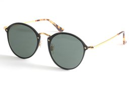 Wholesale Red Blue Ray - Blaze Round Sunglasses Ray 3574N Bans Designer Sunglasses for Men Women New Arrival Metal Frame Flash Mirror Lens 59mm