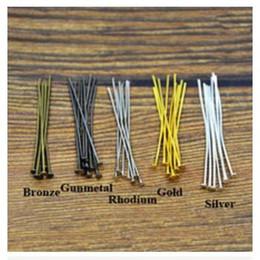 Wholesale Diy Metal Pins - Wholesale-200pc lot 45mm Metal Flat Head Pins Needles Bronze Rhodium Gold Silver DIY Jewelry Findings Making Accessories Y702