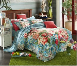 Wholesale Green King Size Quilt Sets - Wholesale-100% Egyptian cotton sheets bedding sets quilt duvet cover Luxury blue green floral bed bedsheet bedspreads king queen size 2015