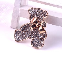 Wholesale Crystal Rhinestone Teddy Bear - Jewelry Clear Rhinestone Crystal Teddy Bear Safety Pin Christmas Brooch Rosy Golden Plated Stylish for Any Occasion