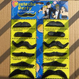 Wholesale Mustache Toys - 12pcs set Costume Party Halloween Fake Mustache Moustache Funny Fake Beard Whisker Halloween toy