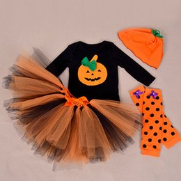 Wholesale Girls Jump Suits - Hot sell newborn baby romper pumpkin Halloween tutu long-sleeves girls 100% cotton baby jump suits with matching accessories 4Sets ZZ-1029