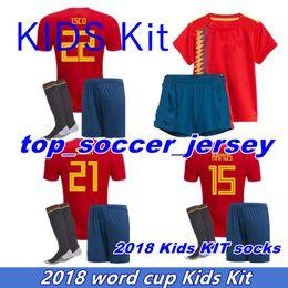 Wholesale Spain Soccer Jersey Kids - Spain kids soccer Jersey kit socks RAMOS ISCO PIQUE SERGIO A. INIESTA M. ASENSIO THIAGO MORATA home soccer shirt Football uniforms