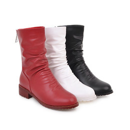 Wholesale Wide Calf Ladies Boot - Women Boots Winter Chunky Heels Mid Calf Boots Zip Plus Size 34-45 Pleated Autumn Boots 2017 Design Lady Red Shoes White black