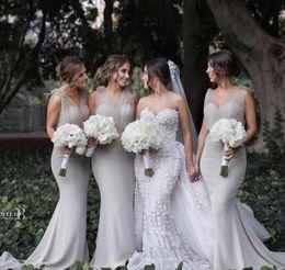 Wholesale Modern Junior Bridesmaid Dresses - Modern Country Bridesmaid Dresses Sheer Tulle V-neck Mermaid Wedding Guest Dress Sweep Train Long Special Occasion Dress Custom Made
