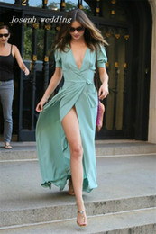 Wholesale Mint Maxi - Free shipping Evening Dresses V Neck short sleeves mint green chiffon dress casual dress maxi long Celebrity Summer Prom Gowns
