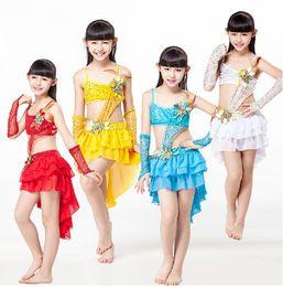 Wholesale One Piece Dancewear - Children Dancewear Mermaid Tails Skirt Children Latin Dance Dress One-piece Dress Dance Costume for Girls Latin Dress