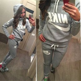 Wholesale Womens Casual Wear Tops - 2018 Women Athletic Wear Set Casual Hooded Hat Pullover Suit Suit-dress Hoodies Sportwear Woman Womens Girl Printed Top Print Sports