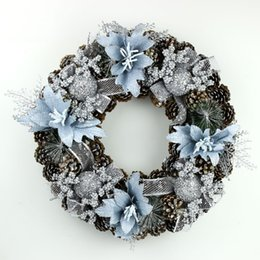 Wholesale Indoor Wreaths - 2015 Hot Sale New Listing Christmas Beautiful Wreath Christmas Decorations 212