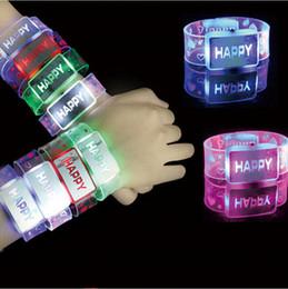 Wholesale Wrist Straps Bracelet Light - New Arrival Fashion Colorful Flashing Light LED Bracelet Toys HAPPY Glow Wrist Strap For Xmas Wedding Party Supplies Free Shipping