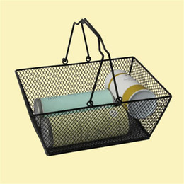 Wholesale Wire Basket Wholesale - New shopping baskets for cosmetics ,powder coated bastket for Cosmetics store Wire Mesh Basket With Metal Handles free shipping