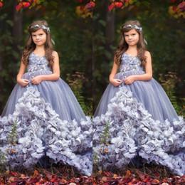 Wholesale Cheap Pretty Green - Pretty 2018 New Girls Pageant Dresses Hand Made Flower Girl Dress For Weddings V Neck Cheap Kids Ball Gowns
