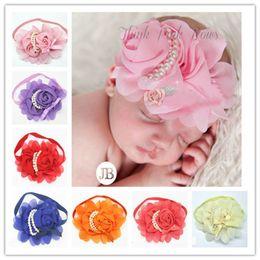 Wholesale Shabby Hair Flowers - Shabby Flowers Baby Headbands Chiffon Fabric Flower Pearls Rhinestones Button 13 Colors Children Hair Accessories 2015 statement new 170178