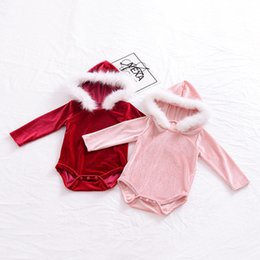 Wholesale Velvet Clothing Brand - Baby Girl Rompers Lovely Newborn Baby Girls Clothes Pleuche Long Sleeve Fur Hooded Romper Jumpsuit Winter Outfits Baby Clothing For 0-24M