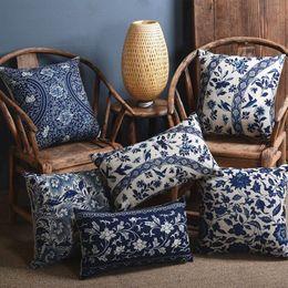 Wholesale Decorative Porcelain Flowers - Blue porcelain Pattern China Flower Decorative Pillow  Linen cotton sofa cushion  Car throw pillows