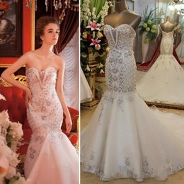 Wholesale Sweet Heart Mermaid Wedding Gowns - 2015 Real Sample Luxury Wedding Dresses Empire Sweet-heart Lace-up Back Mermaid Long White Organza Crystals Heavy Beading Bridal Gowns