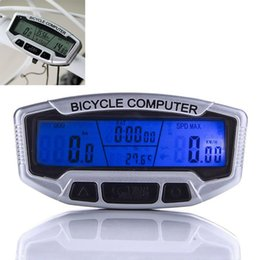 Wholesale Lcd Multi Function Bike - Bicycle Computer Waterproof Backlight LCD Bike Computer Odometer Speedometer Velometer With Clock Stopwatch Free Shipping