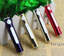 Wholesale Mini Flameless Cigarette Lighter - 10PCS With Blister Card USB Cigarette Lighter Electronic USB Rechargeable Battery Lighter Flameless Cigar Wind Proof Mini Lipstick Shape