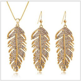Wholesale Luxury Feather Earrings - 2016 High quality full diamond Feather earrings necklace set fashion luxury women jewelry sets 2 color AA0655