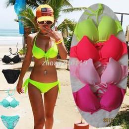 Wholesale Fluorescent Yellow Color - Sexy Fluorescent Neon Bikini Set String Halter Push Up Padded Biquini Brazilian Women Swimsuit Swimwear Bathing Suits