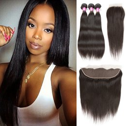 Wholesale Cambodian Mixed - 8a Virgin Peruvian Straight Human Hair Bundles with 4x4 and 13x4 Lace Closure Brazilian Indian ear to ear Frontal with Bundles Weave Closure