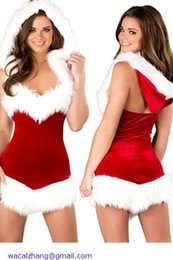 Wholesale Christmas Lingerie Outfit - Vestidos New 2014 Sexy Lingerie Outfits Christmas Beauty Hooded Costume Dress LC7244 Role Play halloween costumes for women
