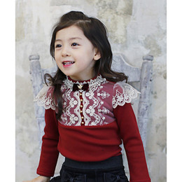 Wholesale Girls Lace Long Sleeve Top - Girls T-shirt winter kids Bows lace embroidered falbala long sleeve T-shirt girl cotton thicken tees children princess tops A00114