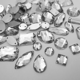 Wholesale Acrylic Button Assorted - Wholesale-100pcs Clear Flatback Acrylic Sewing on Rhinestone Assorted Shape Sew on beads silver Colour DIY rhinestones buttons accessories