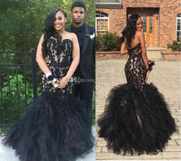Wholesale Black Layered Tulle Prom Dress - Gorgeous Black Applqiued Long Prom Dresses 2017 Fashion Strapless Layered Organza Evening Gowns Long Satin And Tulle Formal Cocktail Dress