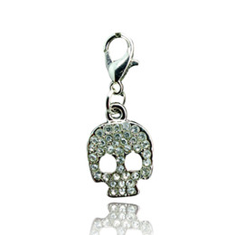Wholesale Girl Skull Pendant - Newly Floating Charm Lobster Clasp Pendants Point Rhinestone Retro Skull Keychain Jewelry DIY Accessories