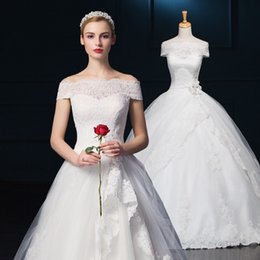 Wholesale Ruching Sleeve Wedding Dress - Off-shoulder A-line Wedding Dresses 2015 White Lace Applique Sleeveless Lace-up Sweep Train Tiered Ruching Peplum Bridal Gowns Vestido SHJ