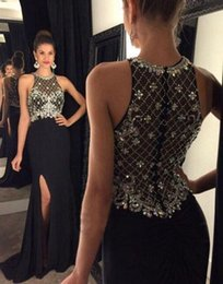Wholesale Grace Pictures - Side Split Evening Prom Dresses Black Blingbling Crystal Beaded Sheath Evening Gowns Sleeveless Sheer Back Grace New Arrivel 2018