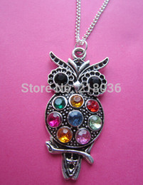 Wholesale Choker Vintage Brand Necklace - Fashion Vintage Silver Charms Colorful Owl Rhinestone Necklaces Pendants Sweater Chain Choker Fashion Jewelry DIY Woman Clothing Brand L630