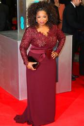 Wholesale Top Hot Women Images - Hot ! Free Shipping New Burgundy Oprah Winfrey Sheath V - Neck Long Sleeve Lace Top Sweep Train Evening Dress For Fat Women