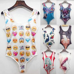 Wholesale Onepiece Swim Suit - Raisevern new womens one piece swim suit emoji UP monroe tiger fish print sexy onepiece swimwear elastic 3 size beach clothes