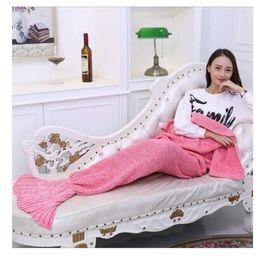 Wholesale Mermaid Wool - Bedding Mermaid Blanket Wool Knitting Fish Little Tail Blankets Warm Sleeping Child Kids Princess Loves Gift 140CM*70CM DHL Free Shipping