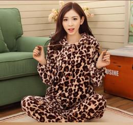 Wholesale Ladies Pajamas Pants - Wholesale- Women Lady Coral Velvet Leopard Pajamas Suit Shirt Pants Flannel Hoodie Winter Thick Warm
